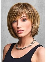 Cute Women's Short Bob Hairstyles Straight Capless Wigs With Bangs Synthetic Hair Wigs 12Inch