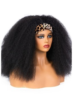 Afro Big Curly Headband Wig Synthetic Hair Capless Wig