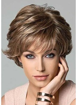 Short Layered Hairstyles Women's Natural Wavy Synthetic Hair Capless Wigs 12Inch