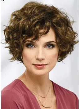 Women's Short Curly Hairstyles Kinky Curly Synthetic Hair Capless Wigs 14Inch