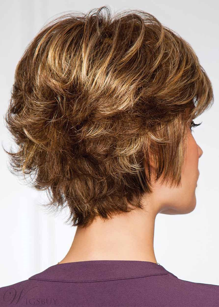 Fashion Women's Short Layered Hairstyles Wavy Capless Synthetic Hair Wigs With Bangs 12Inch