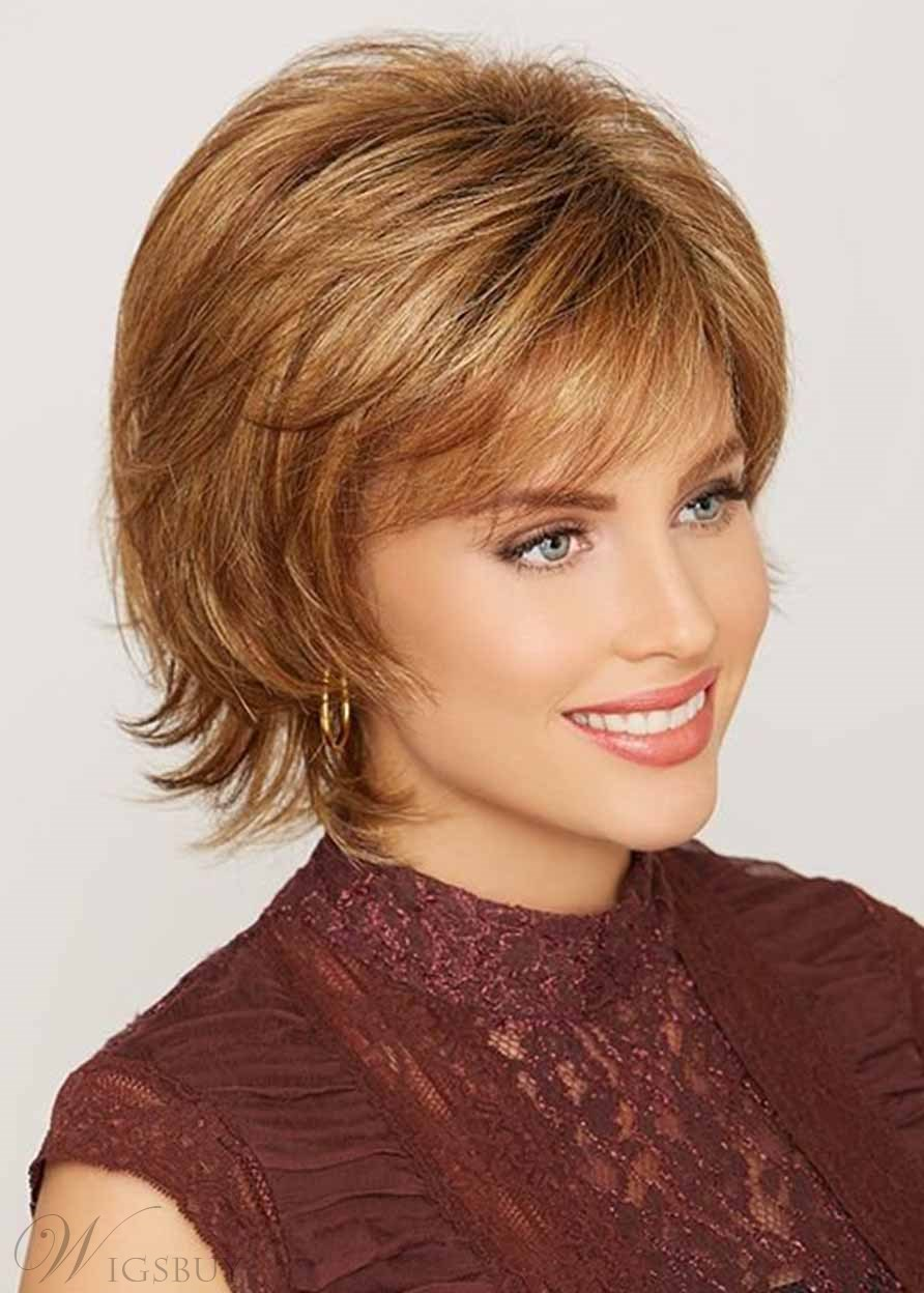 Women's Short Shaggy Layered Hairstyles Natural Straight Synthetic Hair Capless Wigs 12Inch