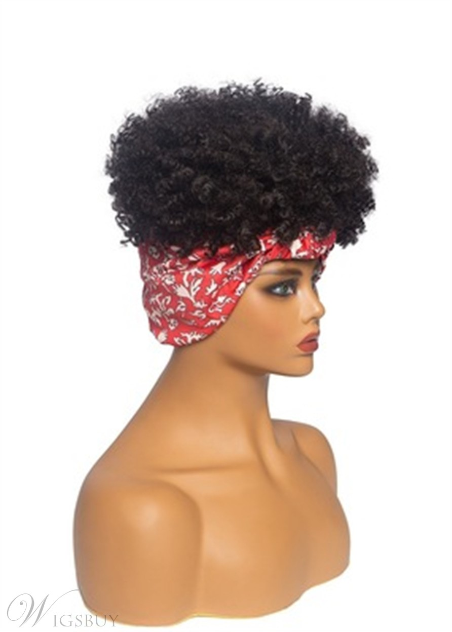 Short Headband Wig Afro Curly Synthetic Hair African American Wig