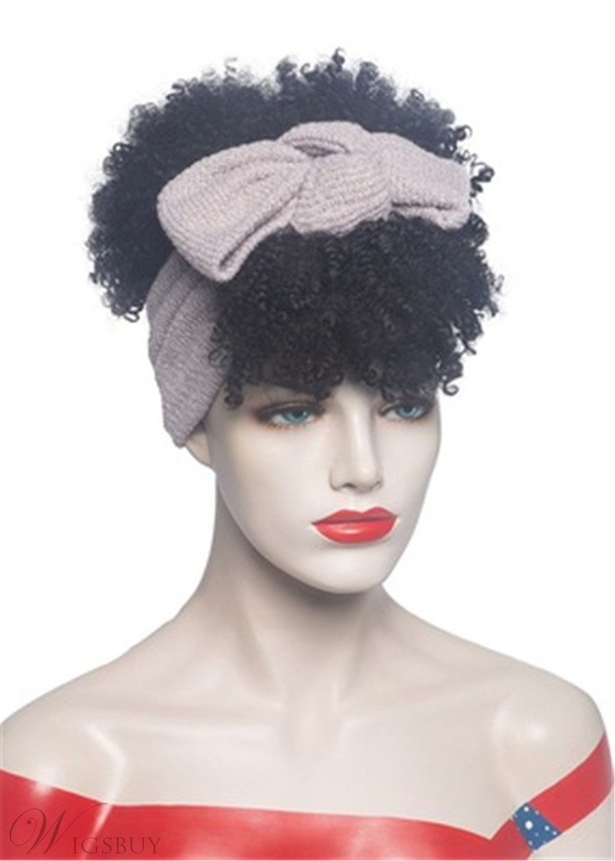 Short Afro Curly HeadBand Wig Synthetic Hair Capless Wig