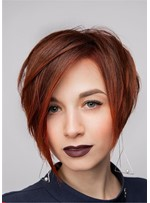 Women's Chic Short HairStyles Pixie Straight Human Hair Wig 10 Inches
