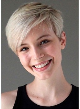 Short Pixie Cut Women's Straight Synthetic Hair Capless Wigs