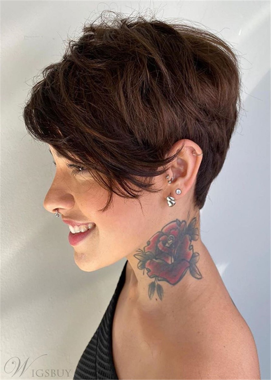 Short Pixie Boy Cut Hairstyles Women's Straight Human Hair Lace Front Wigs 6 Inch
