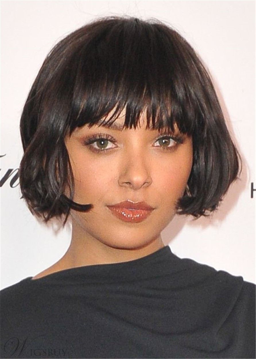 Women's Short Bob Hairstyles Straight Hair With Bangs Capless Wigs 10Inch