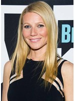 Gwyneth Paltrow's Stick Straight Strands Medium Natural Straight Human Hair Capless Wigs For Women 20Inch