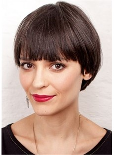 Short Bob Cut Women's Straight Synthetic Hair With Bangs Capless Wigs
