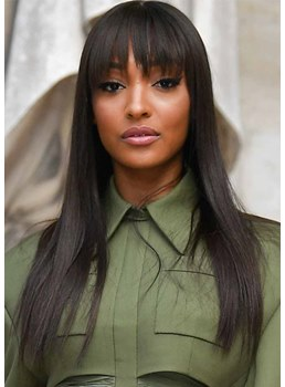 Jourdan Dunn's Hairstyle Women's Natural Straight Human Hair Capless Wigs With Fringe Bangs 26Inch
