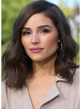 Olivia Culpo's Hairstyle Women's Layered Shoulder-Length Lob Wavy Human Hair Capless Wigs 20Inch