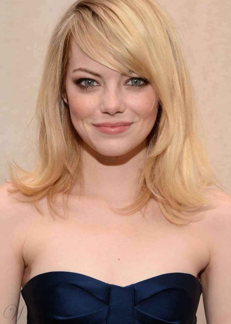 Women's Natural Straight Emma Stone's Flipped-Out Ends Blonde Color Human Hair Capless Wigs 16Inch