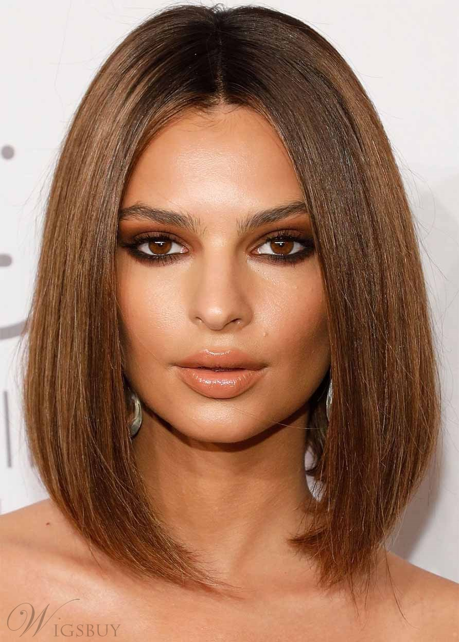 Women's Medium Straight Emrata's Chocolate-Spiked Lob With a Center Part Style Human Hair Capless Wigs 14Inch