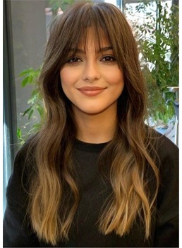 Long Wavy Hairstyle Women's Wavy Human Hair With Bangs Capless Wigs 26 Inch