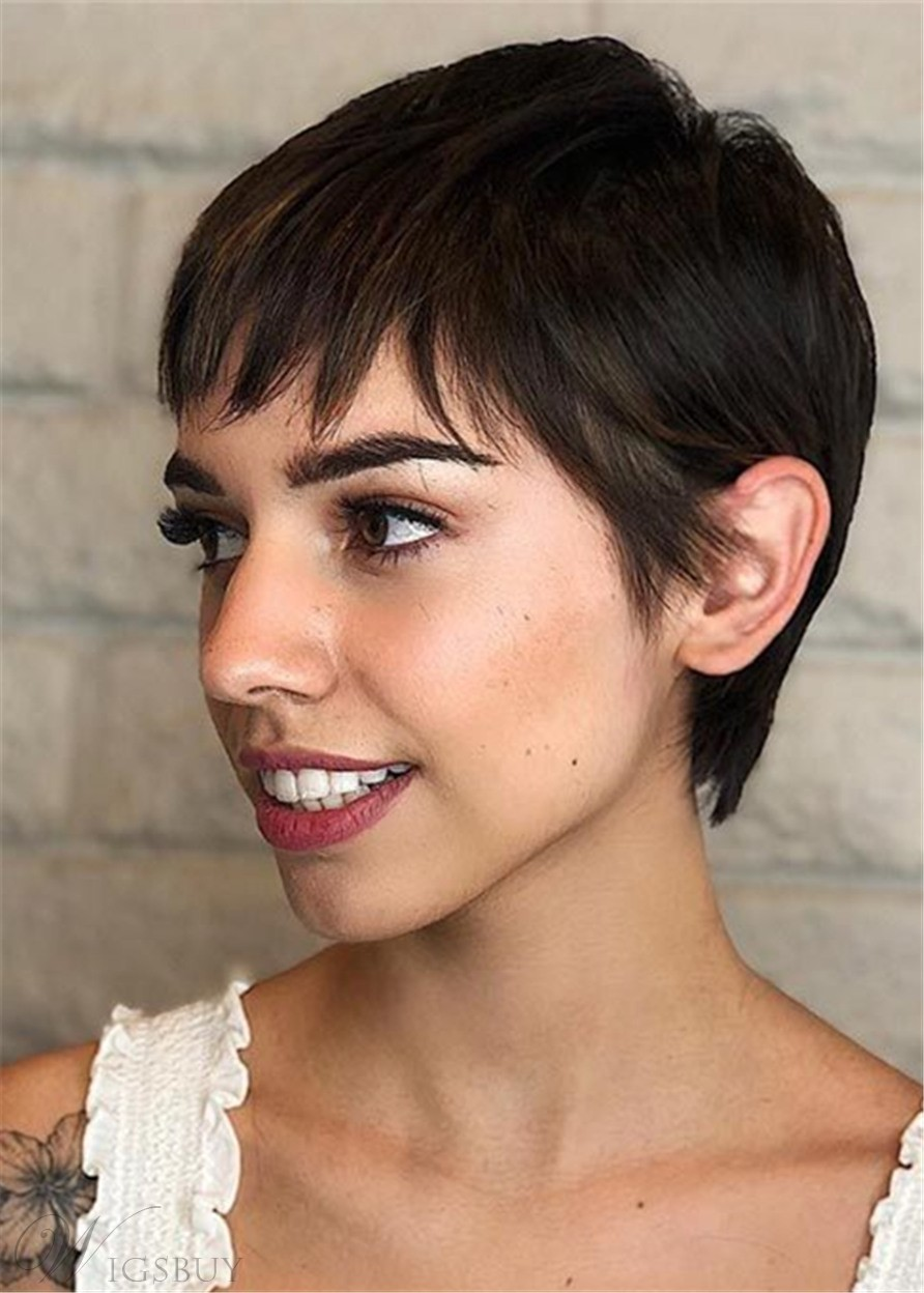 Cool Pixie Haircuts Natural Straight Human Hair Full Lace Wig for Women