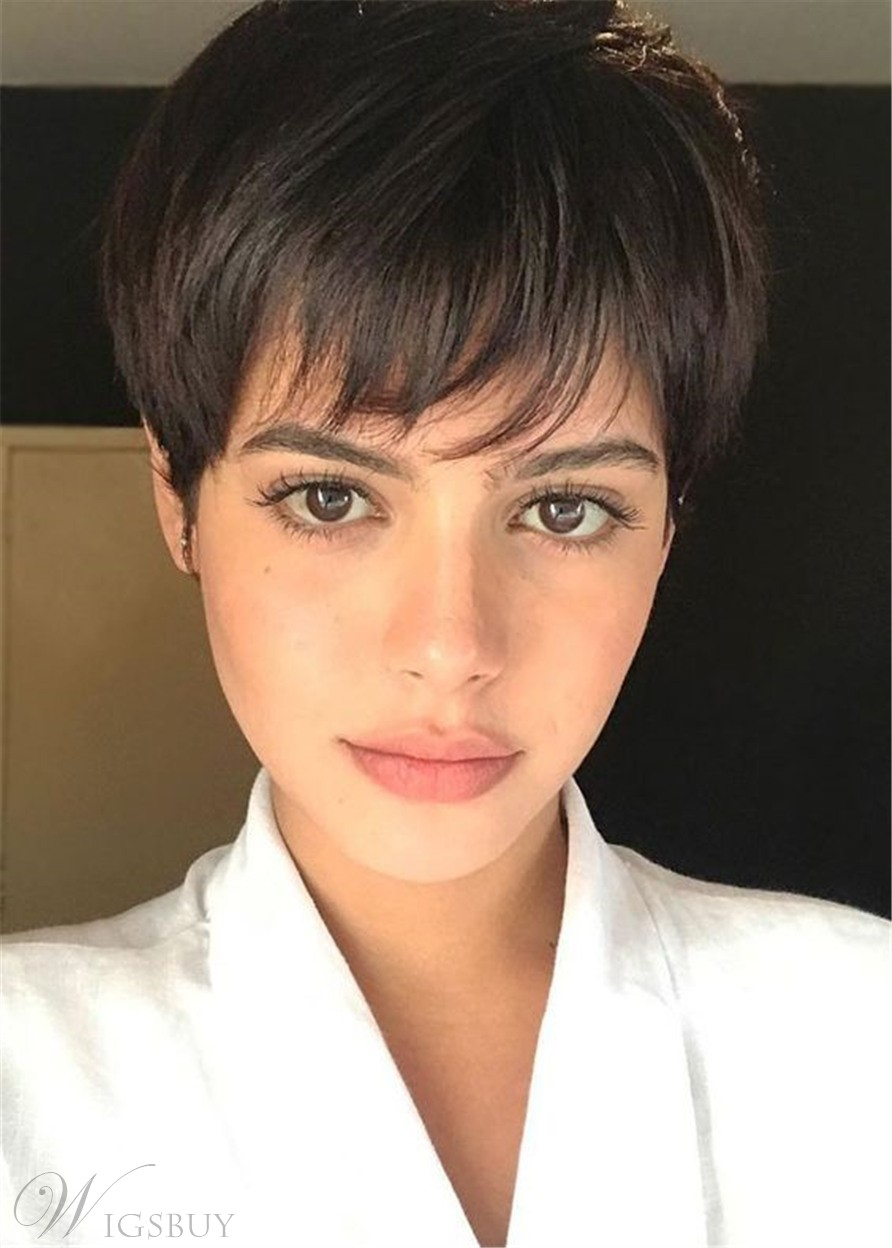 Women's Pixie Cut Natural Straight Human Hair Full Lace Wig With Bangs