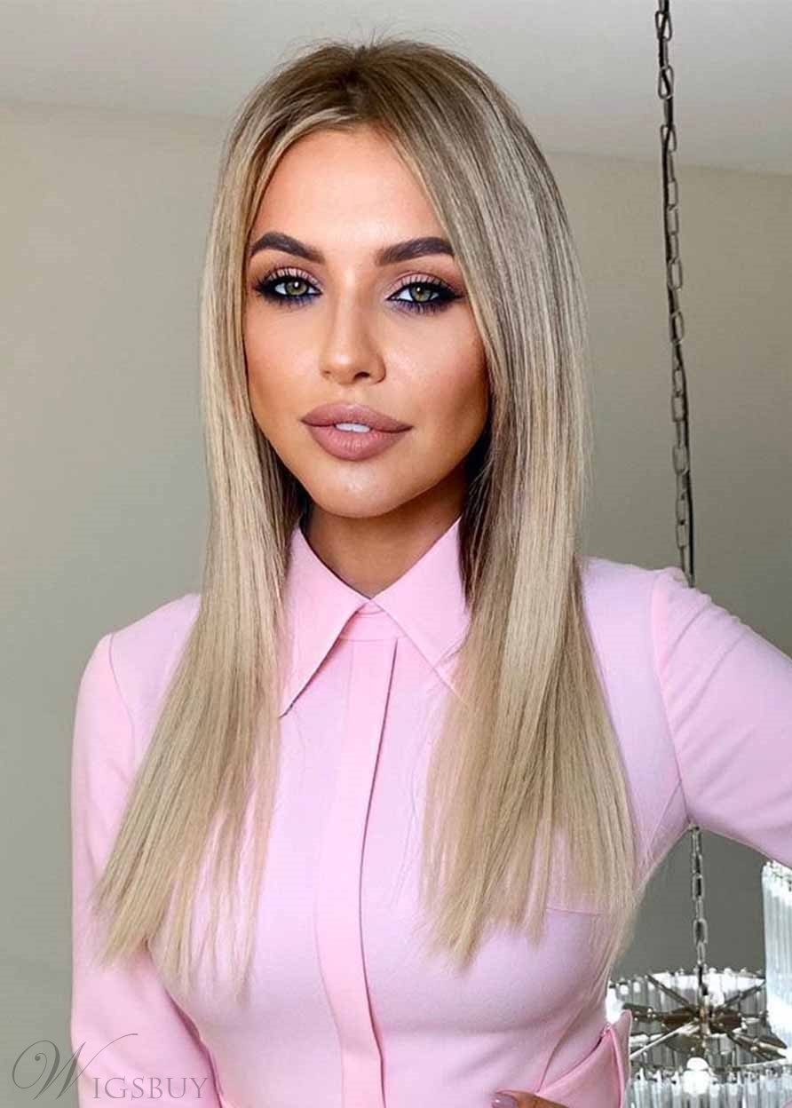 Women's Bob Style Slik Straight Blonde Color Synthetic Hair Capless Wigs 22Inch