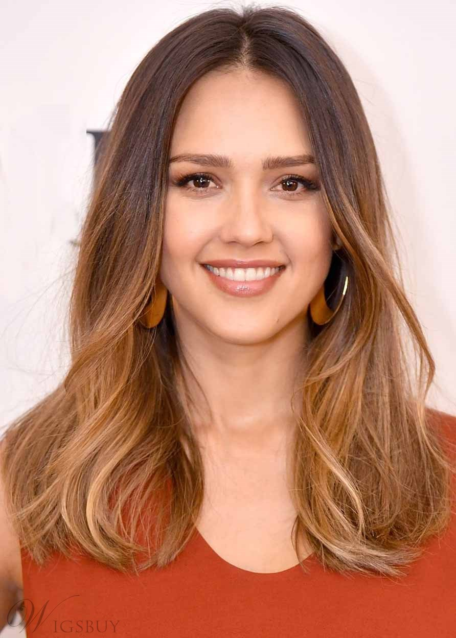Jessica Alba's Ombre Lob Women's Natural Straight Synthetic Hair Capless Wigs 22Inch