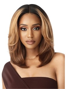 Balayage Bob Hairstyle Highlight Wavy Synthetic Hair Capless Wigs For African American Women