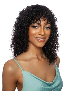 African American Women's Long Kinky Synthetic Curly Hair With Bangs Capless Wigs 18Inch