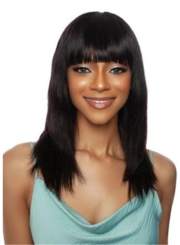 African American Women's Long Straight Human Hair With Bangs Capless Wigs 16Inch