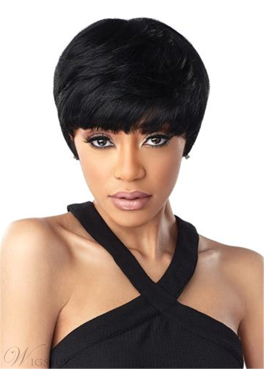 Women's Short Hairstyles Natural Straight Synthetic Hair With Bangs Capless Wigs 10Inch