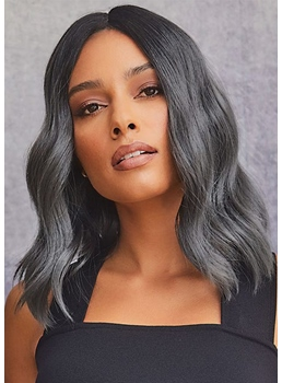 African American Women's Medium Hairstyles Body Wavy Human Hair Lace Front Wigs 18Inch
