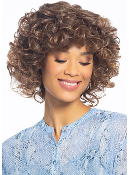 Medium Hairstyles Women's Gorgeous Voluptuous Curly Human Hair Lace Front Wigs with Bouncy Curls 16Inch