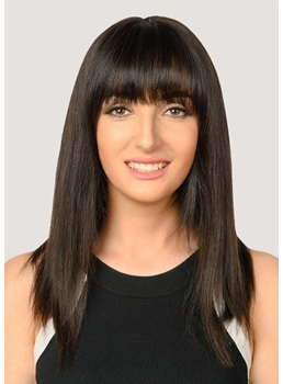 Women's Medium Bob Hairstyles Natural Straight Human Hair Cacpless Wigs With Bangs 20Inch