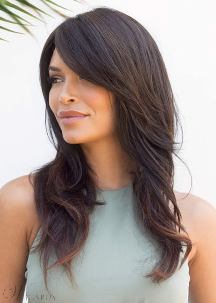 Womne's Long-Layers With Swept Fringe Naturally Tapered Ends Wavy Human Hair Capless Wigs 22Inch