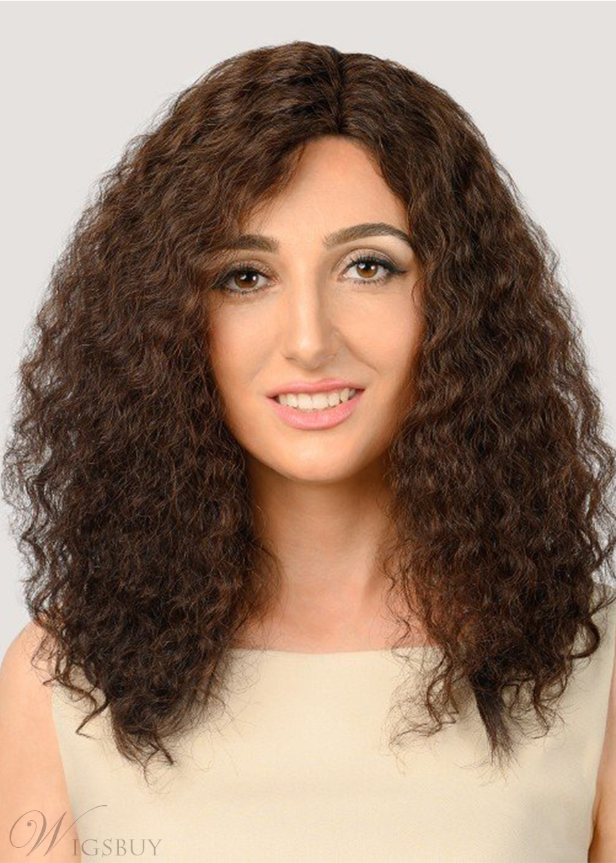 Fashion Style Women's Natural Looking Afro Kinky Curly Human Hair Capless Wigs 24Inch