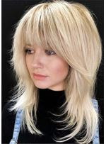 Medium Wavy Layered Cut Hairstyles Women's Blonde Straight Human Hair With Bangs Capless Wigs 18 Inches