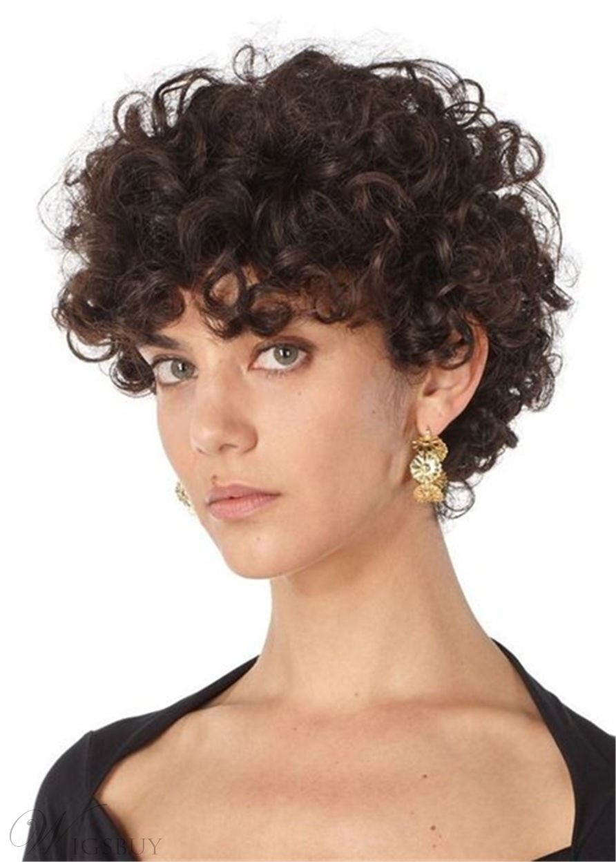 Women's Short Curly Wig Kinky Curly Human Hair Capless Wigs 10Inch