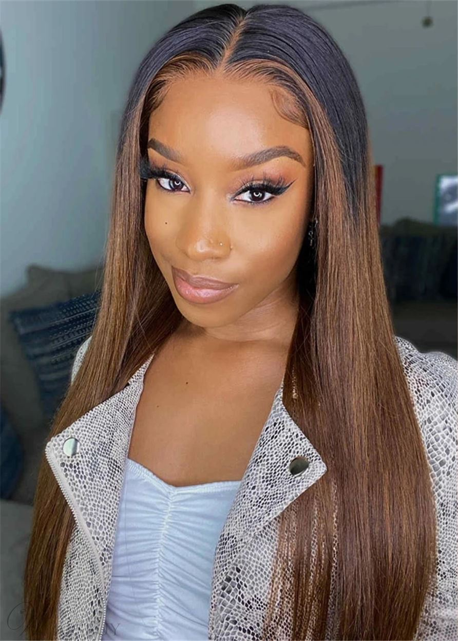 Ombre Hairstyle Long Natural Straight Synthetic Hair Capless Women Wigs 28 Inch
