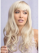 Stunning Style Women's Beautiful Long Length Full Fringe Natural Waves Synthetic Hair Capless Wigs 24Inch