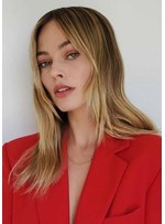 Margot Elise Robbie Style Women's Long Silk Straight Synthetic Hair Capless Wigs 20Inch