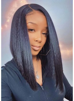 African American Women's Medium Hairstyles Natural Straight Black Synthetic Hair Capless Wigs 18Inch