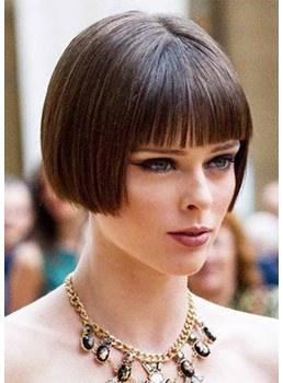 Cute Women's Short Bob Hairstyles Natural Straight Synthetic Hair Capless Wigs With Bangs 8Inch
