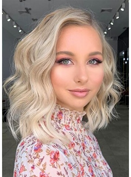 Medium Hairstyles Women's Layered Wavy Synthetic Hair Capless Wigs 16Inch