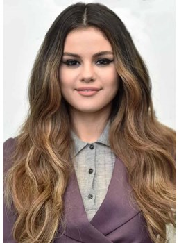 Natural Looking Women's Long Length Loose Beach Waves Human Hair Lace Front Wigs 26Inch