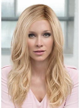 Women's Long Layered Hairstyles Wavy Synthetic Hair Capless Wigs With Side-Swept Bangs 22Inch