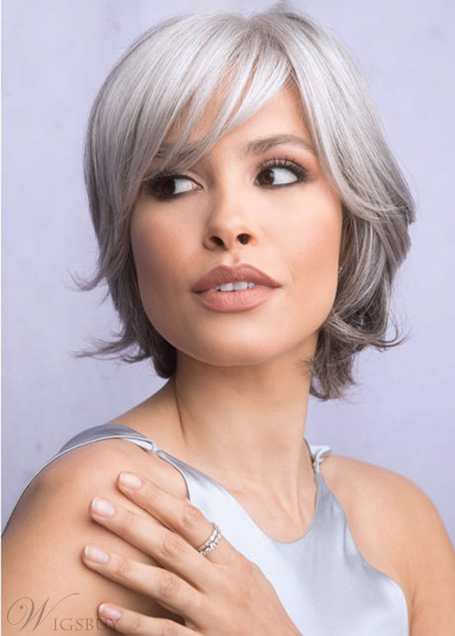 Elegant Women's Short Layered Classy Straight Synthetic Hair Capless Wigs 12Inch