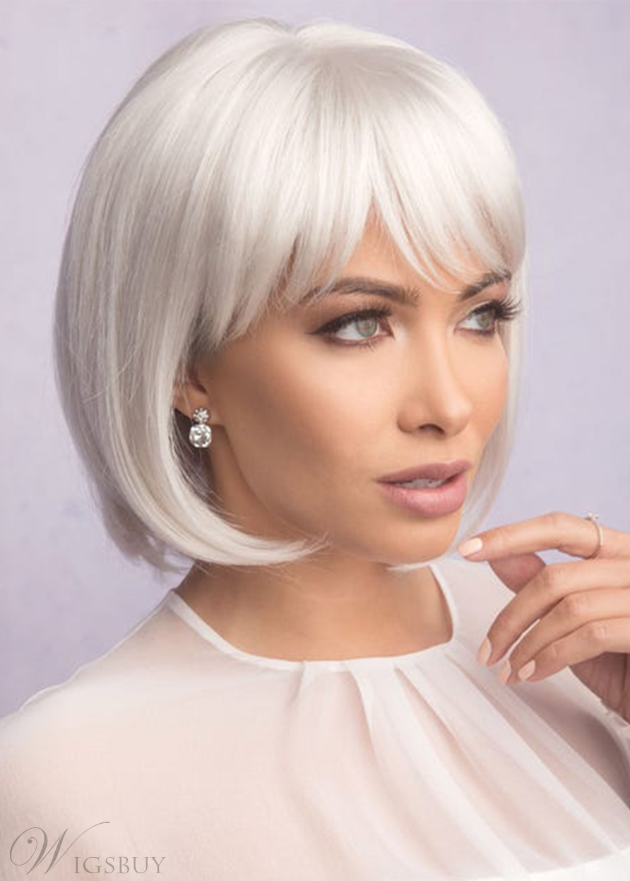 Sexy Women's Short Bob Hairstyles Natural Straight White Blonde Synthetic Hair Capless Wigs 10Inch