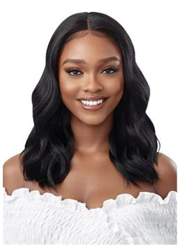Long Center Part Wavy Human Hair Wigs for African American Women 18 Inches