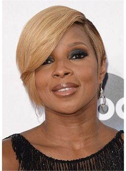 Mary J. Blige Blonde Short Hairstyle Synthetic Straight Hair Capless Wigs With Side Bangs