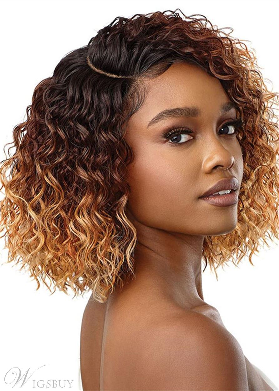 African American Women's Medium Hairstyles Kinky Curly Synthetic Hair Capless Wigs 16 Inch