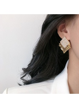 Korean Style Adult Lady/Women's Color Block Pattern Bronze Drop Earrings For Prom/Party/Birthday/Gift