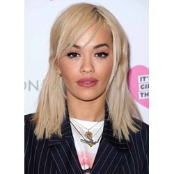 Rita Oras Side-Swept Bangs And Half-up Half-Down Style Straight Human Hair Capless Wigs 16Inch