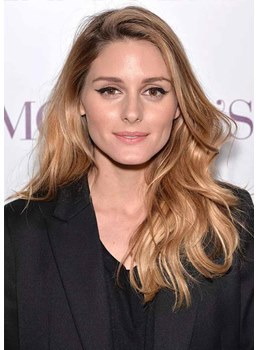 Olivia Palermo's Thicker Face-framing Layers Women's Body Wavy Human Hair Capless Wigs 26Inch